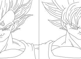 Majin Vegeta_SSJ2 Goku by bluepelt