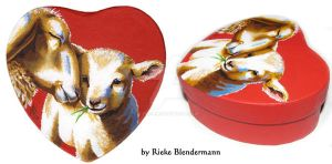 Mother Sheep and Lamb, OOAK box for sale by rieke-b