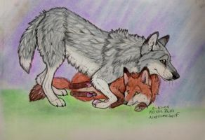 Fox and Wolf hug by NatsumeWolf