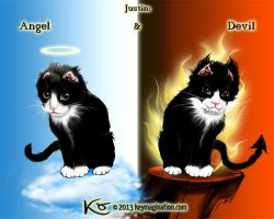 Justin - angel and devil 2013 by Keymagination