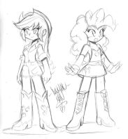 Applejack and Pinkie Pie designs by DANMAKUMAN