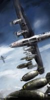 world war 2: B-24 Flak Shak III 'Bombs away!' by VitoSs