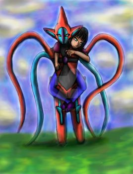 Deoxys and the girl! Mewtwo's challengers! by Mayplefly