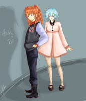Asuka and Rei by aleen-chan