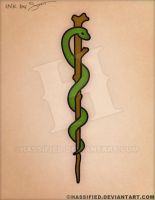 Staff Of Asclepius Tattoo by hassified