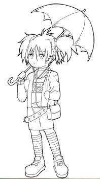 Chibi Goth Lineart by Val4s-san