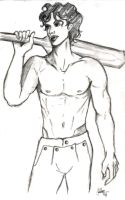 Kartik with Cricket Bat by dumblyd0re