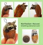 Nut Pendant - Raccoon by Bittythings