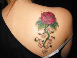 Rose tattoo by damnedtosuffer