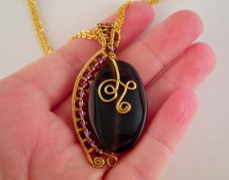Wire Wrapped Onyx Pendant by JanecShannon