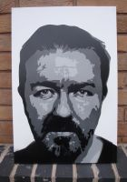 Ricky Gervais - Stencil Canvas by RAMART79