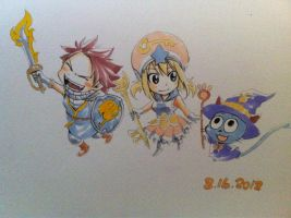 Fairy Tail - Natsu, Lucy and Happy by Piratenking
