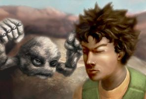 Brock and Geodude at Mt. Moon by Scuttling-Bean