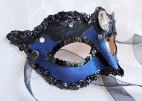 Shimmering Blue Masquerade Mask by DaraGallery