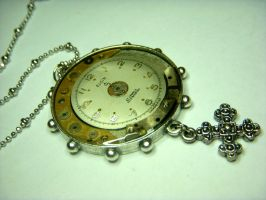 Clock and Cross necklace by Goku-Kaji
