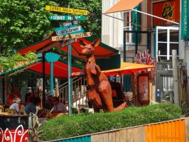 Signs and kangaroo at Cafe Oz by EUtouring