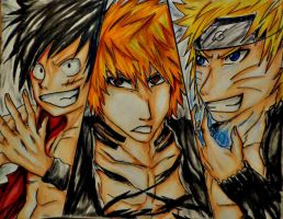 Ichigo, Naruto, Luffy by ANiMExFReaKx115