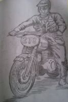 Motorcyclist sketch by DustyPaintbrush