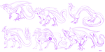Sketches of the Dragon!Allies by Saya-Alphaling