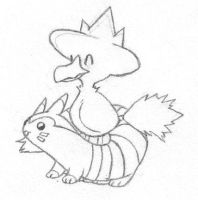 Murkrow+Furret by sunnyfish