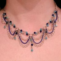 Blue and silver choker by Crimson-rose-x