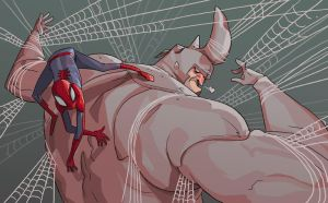 spider-man and rhino by mendigo-amigo