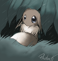 Stuck in the rain by Phantom--Kitsune