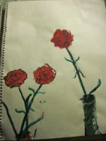 painted red flowers by harry-potter-maniac