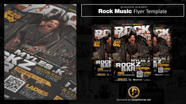 Rock Music Flyer Template by prassetyo