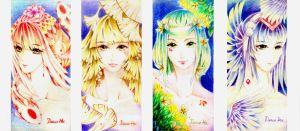 Postcard of 4 colours by DrawHui