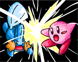 Mudkip VS Kirby by NessStar3000