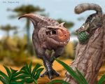 Baby Carnotaurus scares a little mammal by Psithyrus