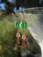 Green and amber crystal earrings by Llyzabeth