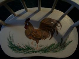 Rooster-Painted Chair by Ark-of-Menphis