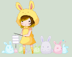 Bunnies and me -Chibi- by Ca14