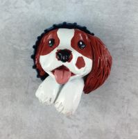 Oliver the Cavalier Pop-Out Button by LeiliaClay