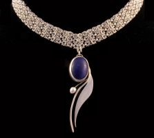 sodalite and pearl pendant by obsidiandevil