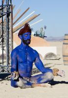 Blue man at temple by fbcota