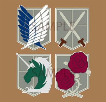 Shingeki no Kyojin emblem button designs by Do0dlebugdebz