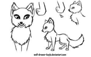 female wolf ref lineart by wolf-drawer-kayla