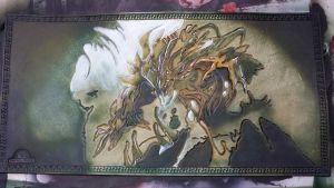Hand Tooled Leather Vengevine Playmat - M:tG by deadlanceSteamworks