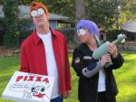 Fry and Leela Futurama Costume Cosplay by OlyRider