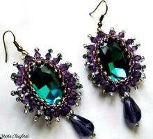Plum and Turquoise Earrings by mariachughtai