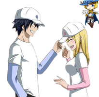Fairy Tail ~ GrayLu (Gray x Lucy) Baseball Render by Sami0987