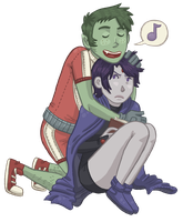 Beast Boy and Raven by Cup-Kayke