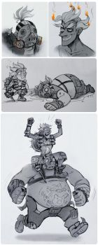 junkrat and roadhog by Kethavel