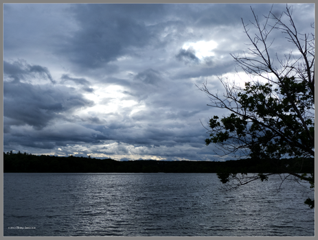 Stormy day on the pond by Mogrianne