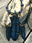 Blue Feather - Necklace and Earring set by Oblivionleather76