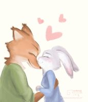 Nick x Judy | Zootopia | Nose kiss by garing-ging