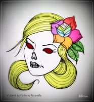 Dead Blond Head With Multi Colored Roses Tattoo by CarlosAE